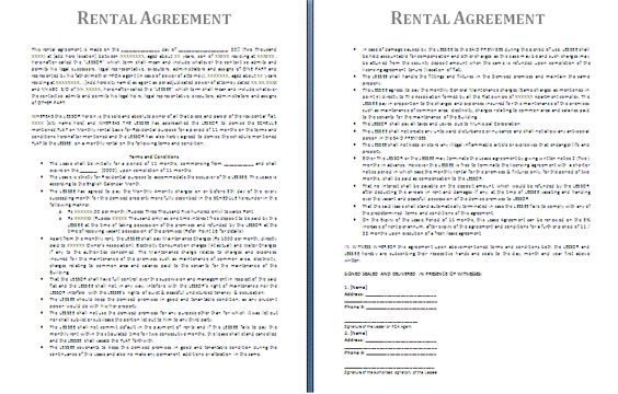 rental agreement Rental Agreement Form Printable Forms Rent - free commercial lease agreement template download