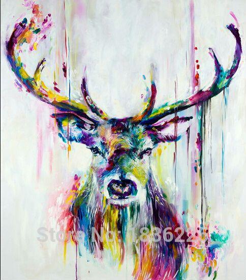 pas cher meilleures ventes articles faits la main peinture abstraite colorful animaux peinture lhuile cerfs peintures lhuile dcoration mur - Tableaux Abstraits Colors