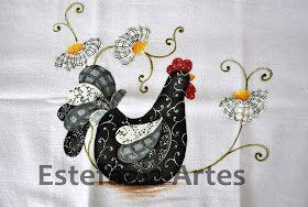 Estefânia Artes: Galinha preta com texturas