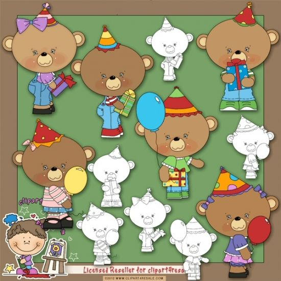 Birthday Bear Hats 1 Clip Art & Digi Stamps by Alice Smith