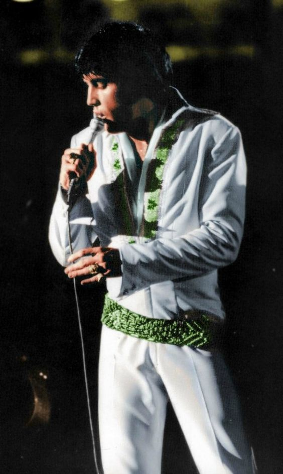 """Elvis wearing the """"Thin Green Leaf"""" jumpsuit, 1970"""