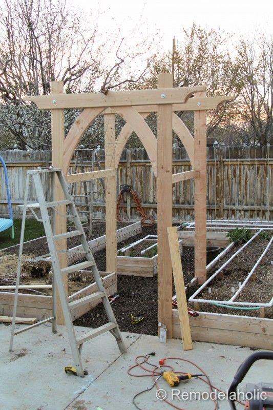 Vegetable garden arbor diy plans gardens arches and wedding for Vegetable garden trellis designs