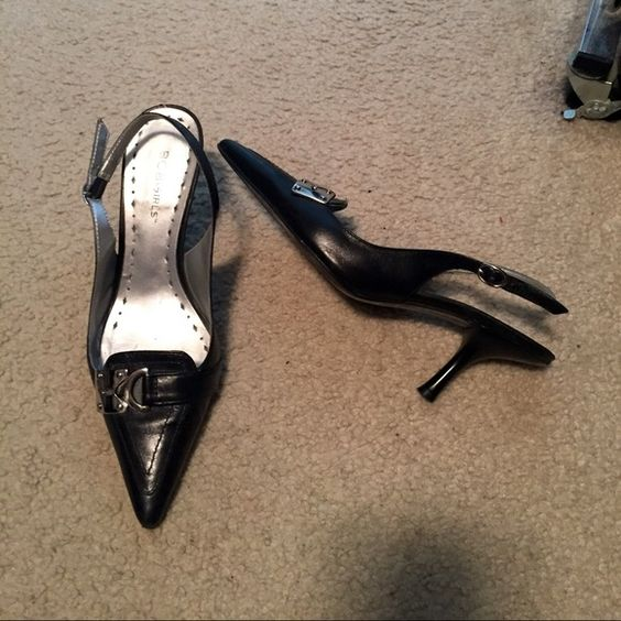 BCBG black size 6 Slingback, kitten heels Super cute BCBG kitten heels with faux buckle feature. True to size. Pre-loved but in great condition. BCBG Shoes Heels