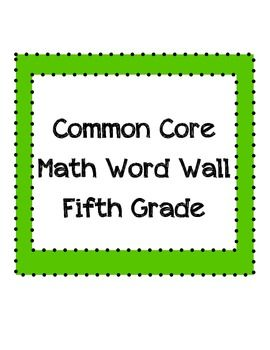 Common Core Math Word Wall Vocabulary Fifth Grade Words border=