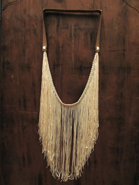 DIY Fringe studded leather necklace. Awesome statement piece!