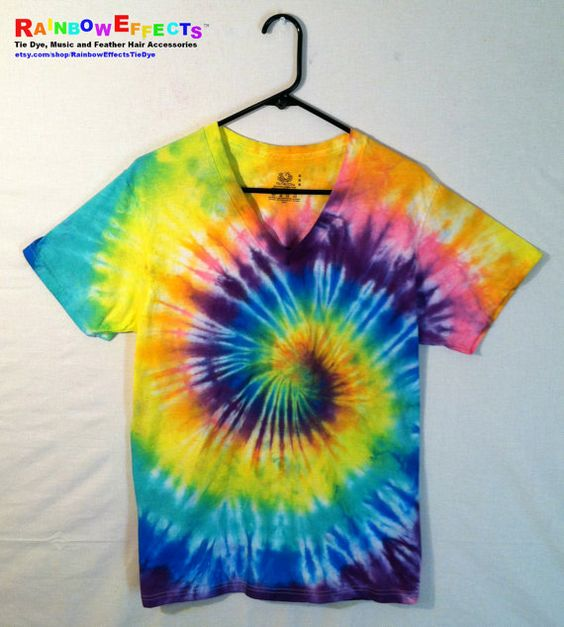 Tie Dye Tshirt  Vneck  Psychedelic Pastel by RainbowEffectsTieDye, $12.50