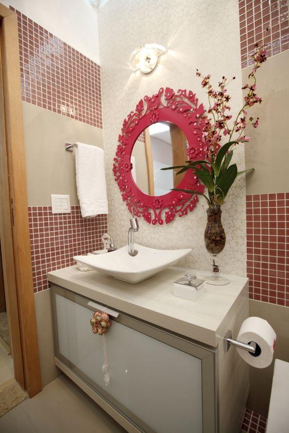 paredes decoradas com papel de parede e espelho  Pesquisa Google  decor  P -> Pia De Banheiro Estilo Provencal