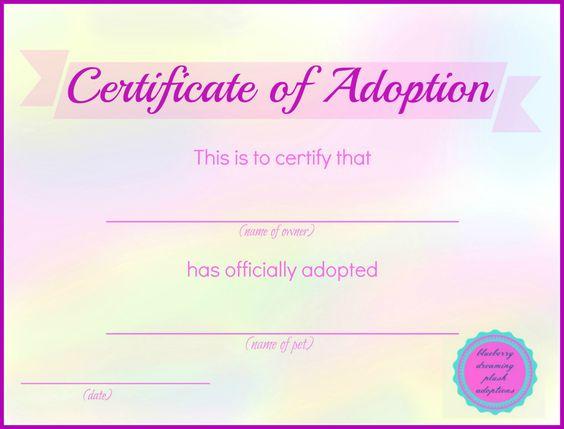 Printable Stuffed Animal Adoption Certificates Blueberry
