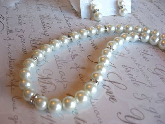 Swarovski Rhinestone and Large Pearl Bridal Necklace and Earring Set -Bride or Bridesmaid Jewelry Set/Pearl Wedding Jewelry SR0010