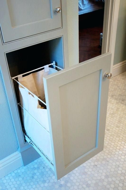 Bathroom Cabinet With Built In Laundry Hamper Need A Pull