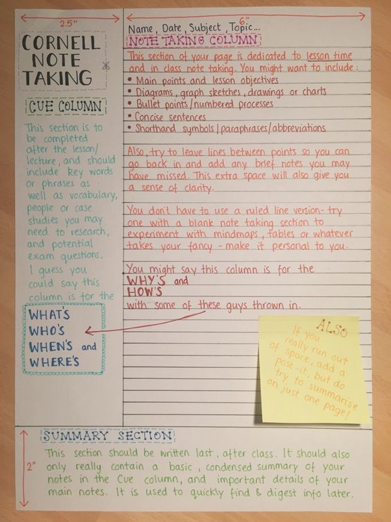 reviseordie Cornell notes, School and Art classroom management - sample cornell note