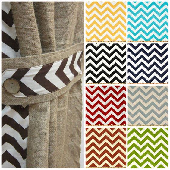 Burlap Drapes, Shabby Chic Curtains, Custom Curtains, Chevron .