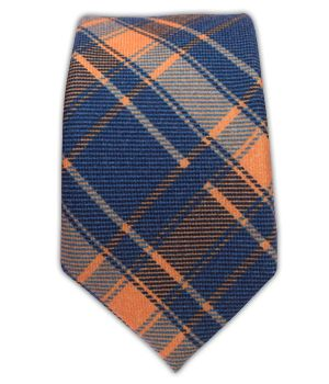 Abbey Plaid - Blue/Apricot (Wool Skinny) | Ties, Bow Ties, and Pocket Squares | The Tie Bar