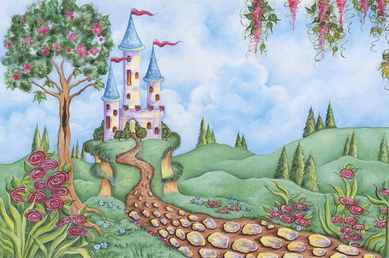 Castle mural murals and castles on pinterest for Fairy castle mural