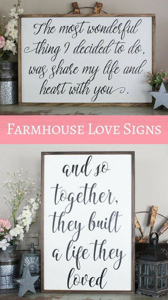 Beautiful Rustic Farmhouse Love Quote Signs Perfect For Wedding Gift Anniversary Or Valentine S Day Home Decor Quotes Rustic Wedding Decor Chic Home Decor