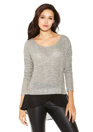 CASUAL COUTURE Black Long Sleeve Layered Top with Draped Back
