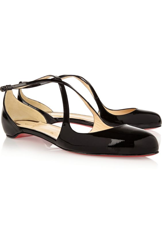 christian louboutin patent leather glitter flats