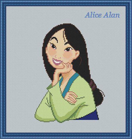 Cross Stitch Pattern Disney Mulan Princess cartoon by HallStitch