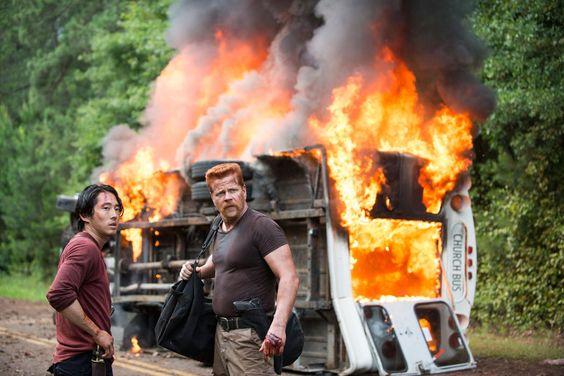 "See 'The Walking Dead' Season 5 Photos ""Self Help"" Episode 505 Steven Yeun as Glenn Rhee and Michael Cudlitz as Abraham"