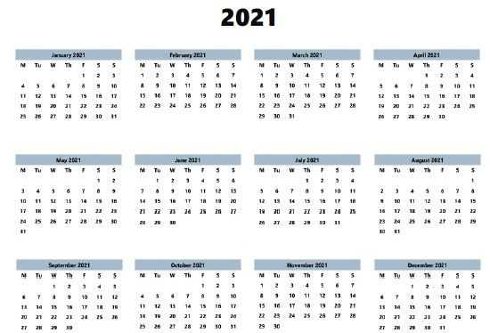 2021 Calendar Printable Template In 2020 Annual Calendar Printable Monthly Calendar Template Printable Calendar Template