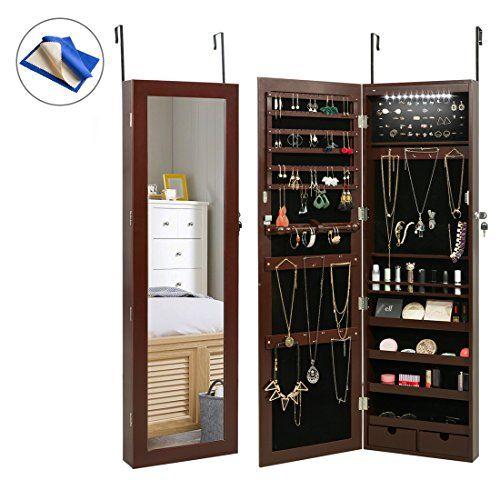 Marble Field Mirrored Jewelry Cabinet Lockable Wall Door Mounted