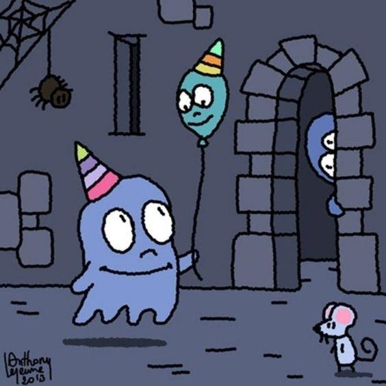illustration enfant halloween fantôme château souris humour