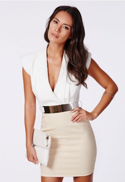 Antonia Structured Shoulder Plunge Dress White - Bodycon Dresses - Missguided
