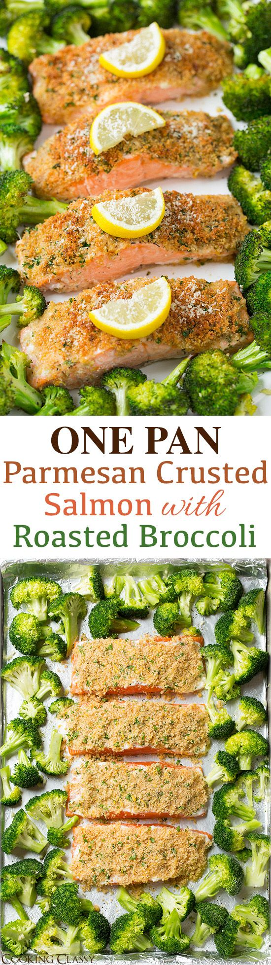 Single Sheet Pan Parmesan Crusted Salmon with Roasted Broccoli Recipe via Cooking Classy - everything is roasted together on one pan so clean up is a breeze! It's healthy and it tastes incredible! #sheetpansuppers #sheetpanrecipes #sheetpandinners #onepanmeals #healthyrecipes #mealprep #easyrecipes #healthydinners #healthysuppers #healthylunches #simplefamilymeals #simplefamilyrecipes #simplerecipes