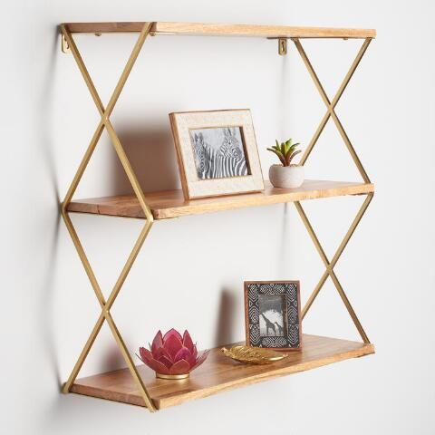 Natural Wood And Gold 3 Tier Wall Shelf Simple Wall Decor Wall