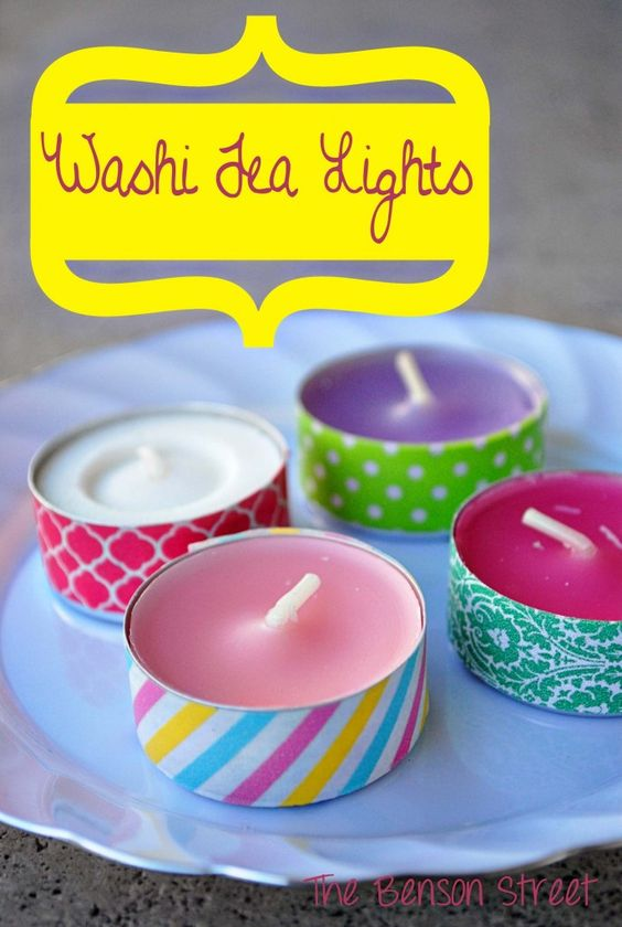 Washi Tea Lights t www.thebensonstreet.com @Laura Jayson Jayson Zickefoose  made me think of Mops theme!: