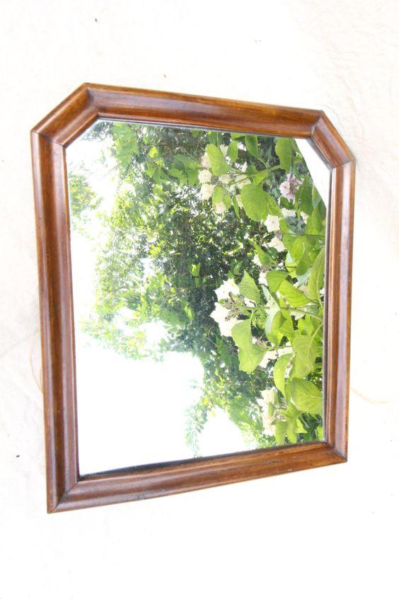 Miroir fran ais ancien xix me cadre en bois noyer miroir for Miroir francais