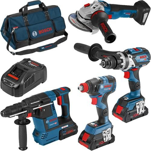 Click To Enlarge Bosch 4 Piece 18v Robustseries Power Tool Kit With One 8 0ah Two 4 0ah High Power Procore Batteries Bosch Tools Tools Bosch