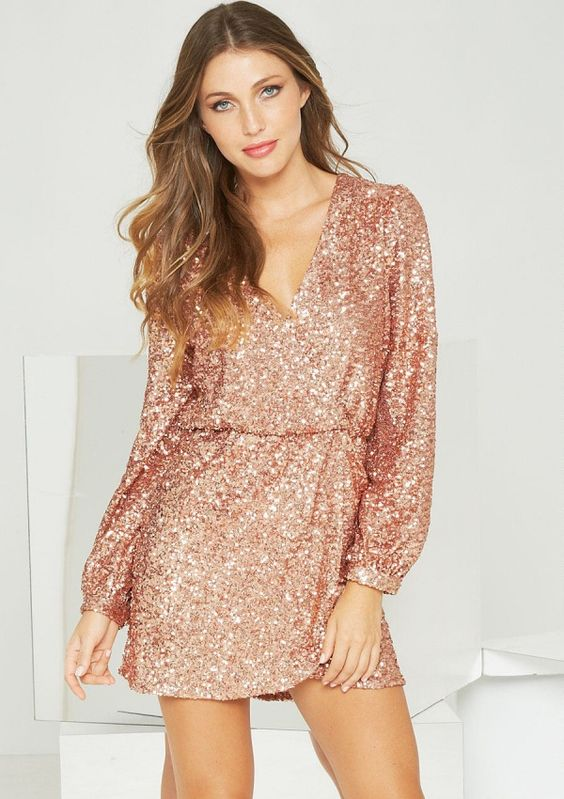 Angelina Sequin Wrap Dress in Rose Gold: Clothes  For the ...