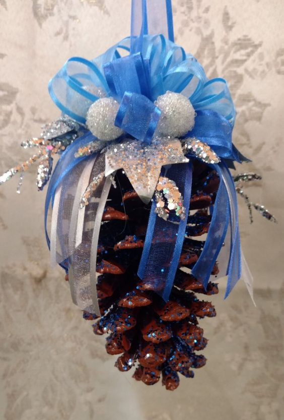 Pinecone Ornament Blue and Silver Set of 2 by BlueCottonDesigns on Etsy https://www.etsy.com/listing/287262753/pinecone-ornament-blue-and-silver-set-of