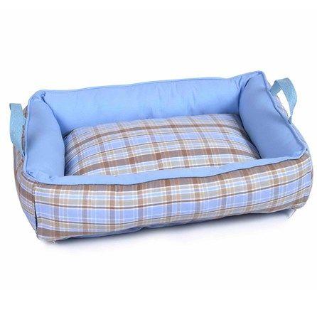 Cama para Cães Algodão Xadrez Azul Camanimal - MeuAmigoPet
