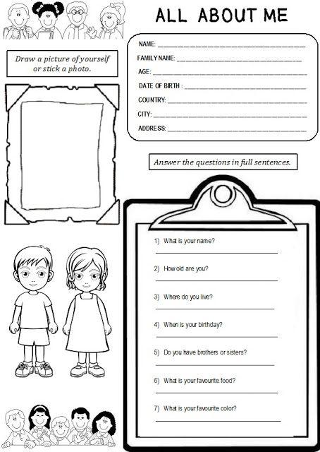 Enjoy Teaching English: ALL ABOUT ME (worksheet)   My Blog - ENJOY ...