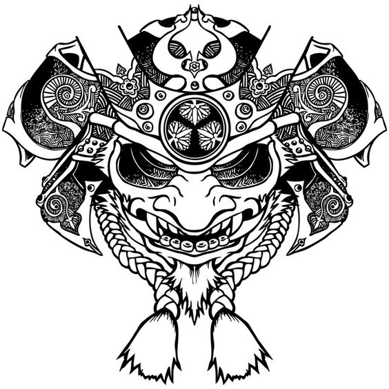 crossed the face of an oni and a samurai helm for a shirt. Black Bedroom Furniture Sets. Home Design Ideas