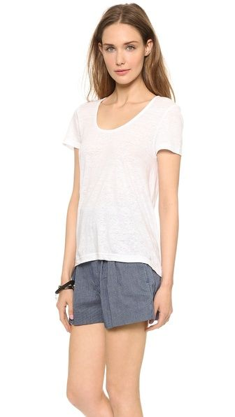 "Marc by Marc Jacobs Carmen Linen Tee in ""White"" - A loose-cut Marc by Marc Jacobs tee in breezy, slubbed linen. The uneven hem dips to a point in back. Short sleeves.  Fabric: Slubbed linen jersey. 100% linen. Hand wash. Imported, China. 