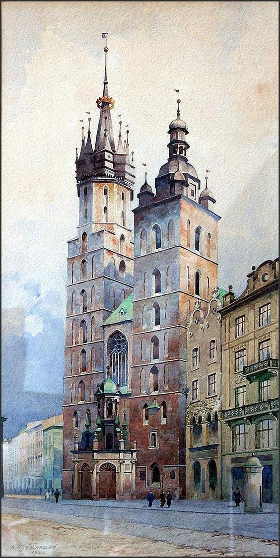 A. Kramarski Widok na Kościół Mariacki 1932 | akwarela - Imago Cracoviae || Cracow atmosphere