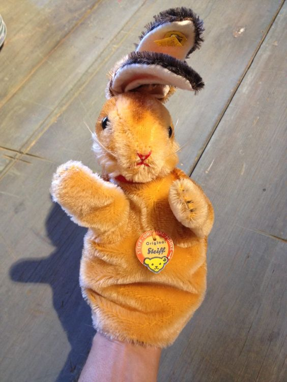 Steiff Bunny Puppet by doubletakesantafe on Etsy https://www.etsy.com/listing/248991718/steiff-bunny-puppet