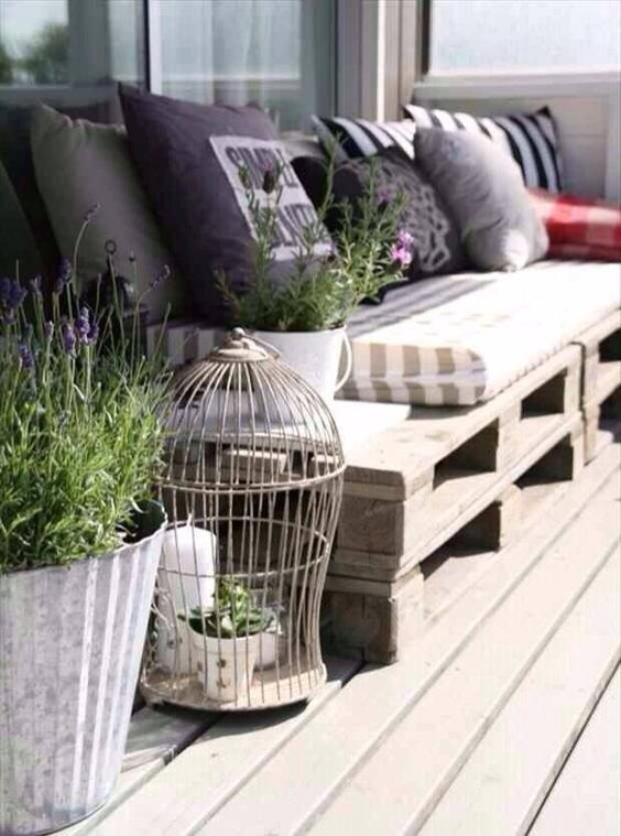 Outdoor pallets via Natural Greek Fabrics