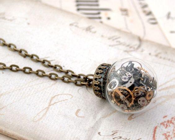 Glass Globe Pendant Necklace Steampunk by KfiatekGiftedHands
