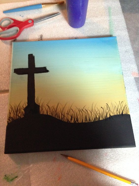 Cross silhouette canvas painting painting pinterest for Cross paintings on canvas