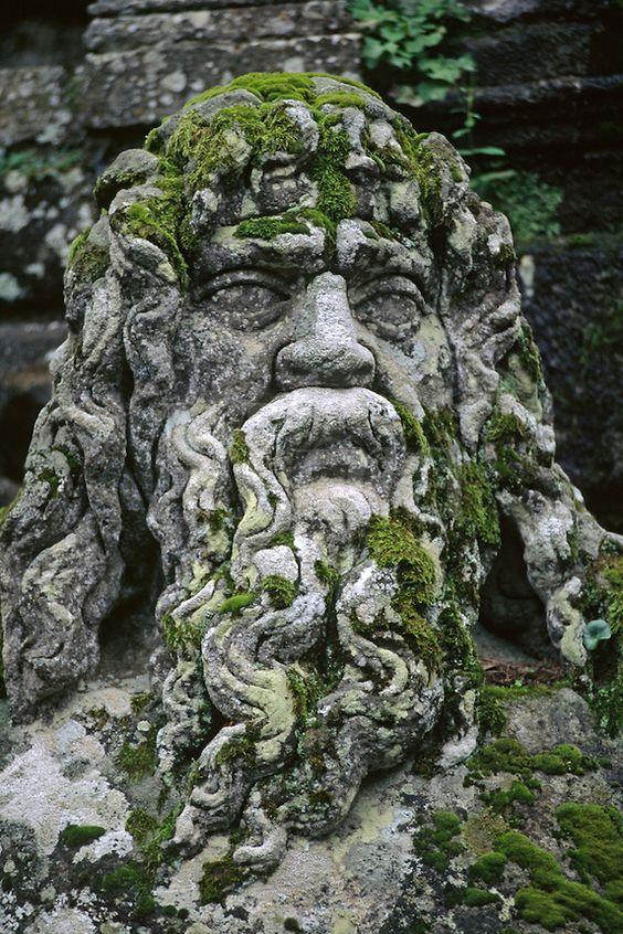 Stone carving of the Giant TIBER (ROME) at VILLA LANTE (Italian Renaissance Garden, 1566), VITERBO - TUSCANY, ITALY: