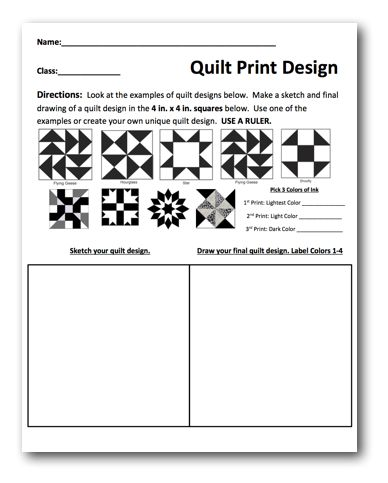 Planning Sheet and Lesson Plan Quilt Prints Art