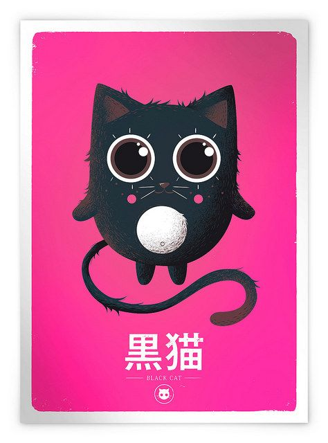 Screen-Print Black Cat / Rose | par mkt4