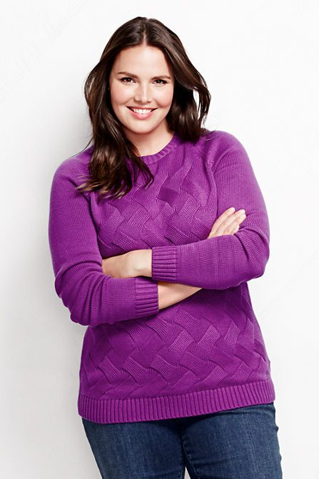 Plus Size Women's Drifter Knit Pullover Sweater from Lands' End #UNIQUE_WOMENS_FASHION