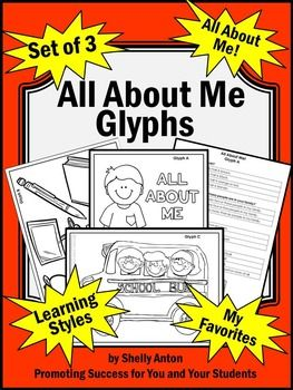 "All About Me: Here is a set of ""All About Me"" glyphs for your beginning of the year activities. Your students will love these printable (pdf) back to school worksheets.  The first glyph is titled, ""All About Me!""  There are several picture choices for students to color based on their preferences."