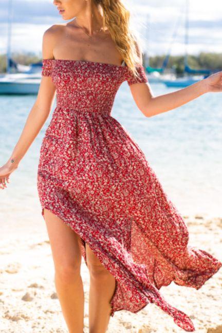 Off Shoulder Vintage Side Split Maxi Dress