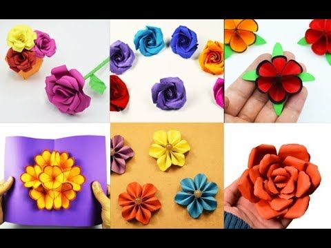 6 Easy Paper Flowers Flower Making Paper Crafts Youtube